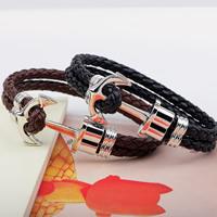 Unisex-Armband & Bangle, Kuhhaut, Zinklegierung Verschluss, Anker, plattiert, nautische Muster & 2 strängig, keine, verkauft per ca. 8 ZollInch Strang