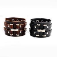 Unisex-Armband & Bangle, Kuhhaut, mit Zinklegierung, Platinfarbe platiniert, keine, 40mm, verkauft per ca. 8.6 ZollInch Strang