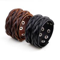 Unisex-Armband & Bangle, Kuhhaut, Zinklegierung Druckknopf Verschluss, Platinfarbe platiniert, keine, 40mm, verkauft per ca. 8.6 ZollInch Strang