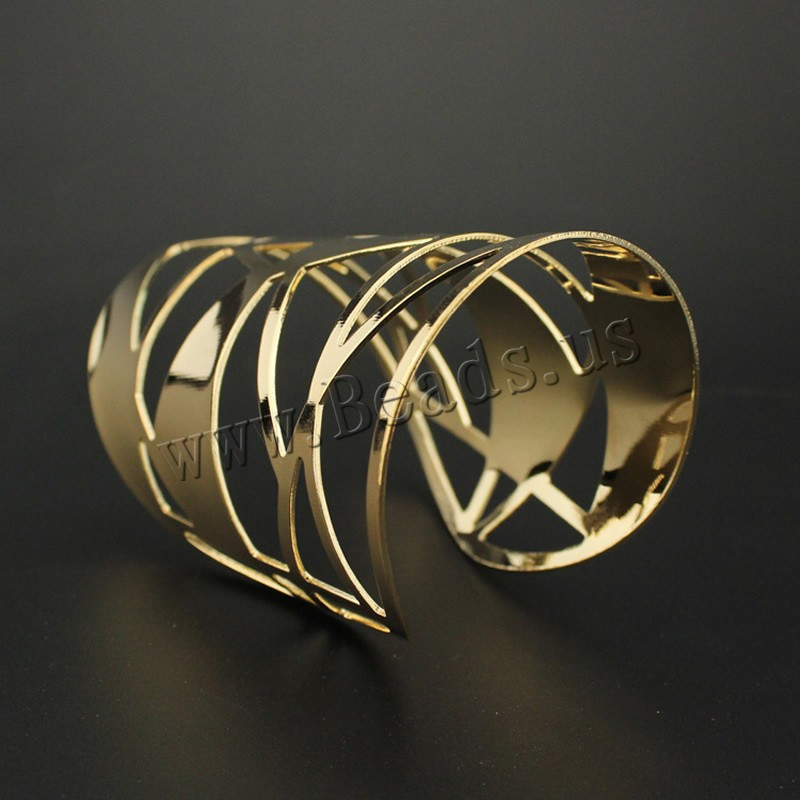 Eisen Armreif, goldfarben plattiert, frei von Blei & Kadmium, 110x58mm, Innendurchmesser:ca. 57mm, Länge:ca. 6.5 ZollInch, 3PCs/Tasche, verkauft von Tasche