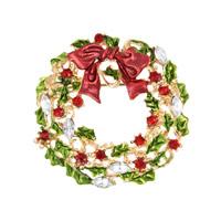 Zinklegierung Brosche, mit Kristall, Weihnachtskranz, goldfarben plattiert, Weihnachtsschmuck & Emaille & facettierte & mit Strass, frei von Blei & Kadmium, 42mm, 3PCs/Tasche, verkauft von Tasche
