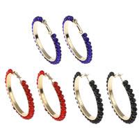 Messing Kreolen, mit Kristall, Kreisring, goldfarben plattiert, facettierte, keine, frei von Nickel, Blei & Kadmium, 50x6mm, verkauft von Paar