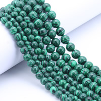 Malachit Perle, rund, synthetisch, verschiedene Größen vorhanden, Bohrung:ca. 1mm, Länge:ca. 15 ZollInch, verkauft von Tasche