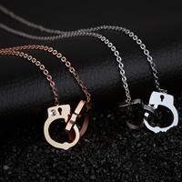 Edelstahl Schmuck Halskette, Handschelle, plattiert, Oval-Kette & Micro pave Zirkonia & für Frau, keine, frei von Nickel, Blei & Kadmium, 28mm, 17x13mm, verkauft per ca. 16.5 ZollInch Strang
