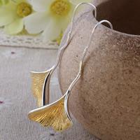 Messing Tropfen Ohrring, Blatt, plattiert, frei von Nickel, Blei & Kadmium, 22x18mm, verkauft von Paar