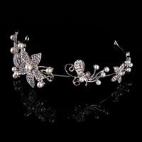 Krone, Zinklegierung, mit ABS-Kunststoff-Perlen, Blume, silberfarben plattiert, für Braut & mit Strass, frei von Blei & Kadmium, 160mm, verkauft von PC