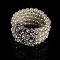 Braut Armband, ABS-Kunststoff-Perlen, mit Zinklegierung, Platinfarbe platiniert, für Braut & mit Strass, 40-50mm, verkauft per ca. 7 ZollInch Strang