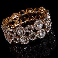 Braut Armband, Zinklegierung, goldfarben plattiert, für Braut & mit Strass, frei von Blei & Kadmium, 30-40mm, verkauft per ca. 7 ZollInch Strang