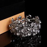 Braut Armband, Zinklegierung, Platinfarbe platiniert, für Braut & mit Strass, frei von Blei & Kadmium, 20-30mm, verkauft per ca. 7 ZollInch Strang