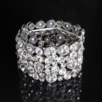 Braut Armband, Zinklegierung, mit Kristall, Platinfarbe platiniert, für Braut & facettierte & mit Strass, frei von Blei & Kadmium, 38mm, verkauft per ca. 7 ZollInch Strang
