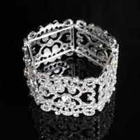Braut Armband, Zinklegierung, Platinfarbe platiniert, für Braut & mit Strass, frei von Blei & Kadmium, 35mm, verkauft per ca. 7 ZollInch Strang