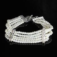 Braut Armband, ABS-Kunststoff-Perlen, mit Zinklegierung, mit Verlängerungskettchen von 6cm, Platinfarbe platiniert, für Braut & mit Strass, 19cm, verkauft per ca. 7 ZollInch Strang