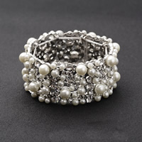 Braut Armband, Zinklegierung, mit ABS-Kunststoff-Perlen, Platinfarbe platiniert, für Braut & mit Strass, frei von Blei & Kadmium, 31mm, verkauft per ca. 6 ZollInch Strang