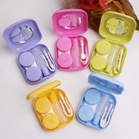 Kunststoff Kontakt Objektiv-Fall, mit Glas, Rechteck, mit Brief Muster, gemischte Farben, 51x58x16mm, 5PCs/Tasche, verkauft von Tasche