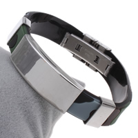 Unisex-Armband & Bangle, Edelstahl, mit Silikon, mit Brief Muster, originale Farbe, 39x16x6mm, verkauft per ca. 7.5 ZollInch Strang