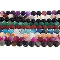 Natürliche Streifen Achat Perlen, rund, verschiedene Größen vorhanden & satiniert, keine, Bohrung:ca. 0.8-1.5mm, Länge:ca. 14.5 ZollInch, verkauft von Menge