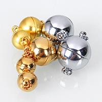 Messing Magnetverschluss, rund, plattiert, verschiedene Größen vorhanden & Einzelstrang, keine, Bohrung:ca. 2.2mm, 10PCs/Menge, verkauft von Menge