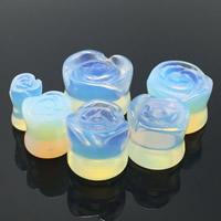 Art und Weise Piercing Tunnel, Opal, Blume, verschiedene Größen vorhanden, 2PCs/Tasche, verkauft von Tasche