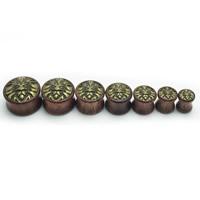 Padauk Piercing Durchstich, mit Zinklegierung, Rondell, antike Bronzefarbe plattiert, verschiedene Größen vorhanden, 2PCs/Tasche, verkauft von Tasche