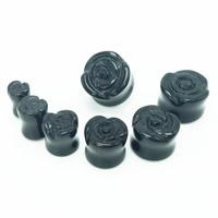 Art und Weise Piercing Tunnel, Schwarzer Achat, Blume, verschiedene Größen vorhanden, 2PCs/Tasche, verkauft von Tasche