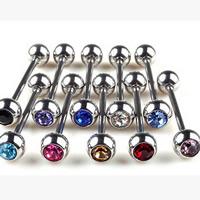 Edelstahl Piercing Stäbe, mit Strass, gemischte Farben, 6mm, 5PCs/Tasche, verkauft von Tasche