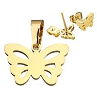 Edelstahl Schmucksets, Anhänger & Ohrring, Schmetterling, goldfarben plattiert, hohl, 20x14x1mm, 10x6.5x12mm, Bohrung:ca. 4x7mm, verkauft von setzen