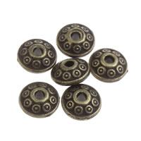 Zinklegierung flache Perlen, flache Runde, antike Bronzefarbe plattiert, frei von Blei & Kadmium, 6x3mm, Bohrung:ca. 1mm, 100G/Tasche, verkauft von Tasche