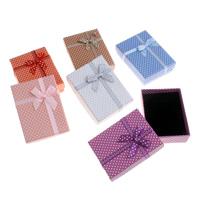 Karton Halskettenkasten, mit Schwamm & Satinband, Rechteck, mit Muster von runden Punkten, keine, 95x70x26mm, verkauft von PC