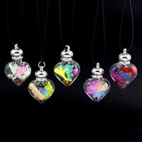 Glassturz Halskette, Glas, mit Seidenspinnerei & PU Leder & Strass, Zinklegierung Karabinerverschluss, Herz, keine, 32x49x16mm, verkauft per ca. 17 ZollInch Strang