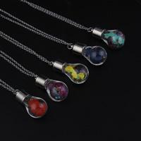 Glassturz Halskette, Glas, mit Messingkette & Seidenspinnerei & Strass, Platinfarbe platiniert, Rolo Kette, keine, 17x36mm, verkauft per ca. 18 ZollInch Strang