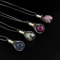Glassturz Halskette, Glas, mit Messingkette & Seidenspinnerei & Strass, plattiert, Kastenkette, keine, 17x33mm, verkauft per ca. 18 ZollInch Strang