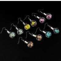 Glassturz Ohrringe, Glas, mit Seidenspinnerei & Strass & Verkupferter Kunststoff, Eisen Haken, plattiert, keine, 16x47mm, verkauft von Paar
