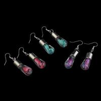 Glas Tropfen Ohrring, mit Seidenspinnerei & Strass & Verkupferter Kunststoff, Eisen Haken, plattiert, keine, 12x50mm, verkauft von Paar