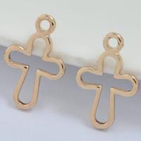 24K Gold Anhänger, Messing, Kreuz, 24 K vergoldet, frei von Blei & Kadmium, 8x12mm, Bohrung:ca. 1-2mm, 30PCs/Tasche, verkauft von Tasche