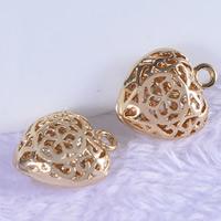 24K Gold Anhänger, Messing, Herz, 24 K vergoldet, hohl, frei von Blei & Kadmium, 11x13x5mm, Bohrung:ca. 1-2mm, 20PCs/Tasche, verkauft von Tasche