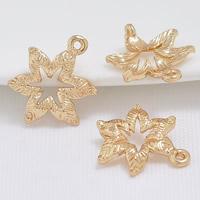 24K Gold Anhänger, Messing, Blume, 24 K vergoldet, 1/1-Schleife, frei von Blei & Kadmium, 14x11mm, Bohrung:ca. 1-2mm, 20PCs/Tasche, verkauft von Tasche