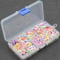 Kinder-DIY Saiten-Perlen-Set, Acryl, mit Kunststoff Kasten, 10 Zellen & chemische-Waschanlagen & gemischt, 15x13x2.5mm, Bohrung:ca. 1-2mm, 3BoxenFeld/Menge, verkauft von Menge