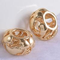 24K Gold Perlen, Messing, Trommel, 24 K vergoldet, ohne troll & hohl, frei von Blei & Kadmium, 11x7mm, Bohrung:ca. 5mm, 20PCs/Tasche, verkauft von Tasche