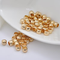 24K Gold Perlen, Messing, Trommel, 24 K vergoldet, ohne troll, frei von Blei & Kadmium, 6x5mm, Bohrung:ca. 4mm, 20PCs/Tasche, verkauft von Tasche