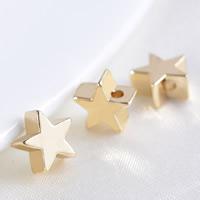 24K Gold Perlen, Messing, Stern, 24 K vergoldet, frei von Blei & Kadmium, 7x3.5mm, Bohrung:ca. 1.2mm, 100PCs/Tasche, verkauft von Tasche