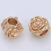 24K Gold Perlen, Messing, Blume, 24 K vergoldet, ohne troll, frei von Blei & Kadmium, 8.5x8.5mm, Bohrung:ca. 4mm, 20PCs/Tasche, verkauft von Tasche