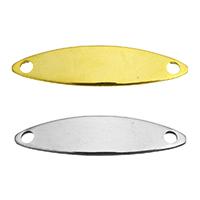 Edelstahl Schmuckverbinder, plattiert, 1/1-Schleife, keine, 25x6x1mm, Bohrung:ca. 2mm, verkauft von Menge