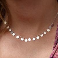 Eisen Halsketten, flache Runde, silberfarben plattiert, frei von Blei & Kadmium, 45cm, verkauft per ca. 17.5 ZollInch Strang