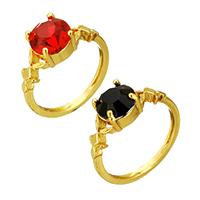 Kristall Fingerring, Messing, mit Kristall, goldfarben plattiert, für Frau & facettierte, keine, frei von Nickel, Blei & Kadmium, 8mm, Größe:5.5, verkauft von PC