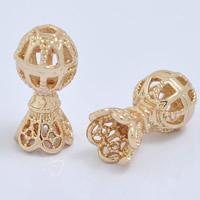 24K Gold Perlen, Messing, 24 K vergoldet, hohl, frei von Blei & Kadmium, 8x15mm, Bohrung:ca. 1mm, 20PCs/Tasche, verkauft von Tasche