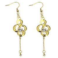 Edelstahl Tropfen Ohrring, goldfarben plattiert, mit Strass, 20x60x5mm, 85mm, verkauft von Paar