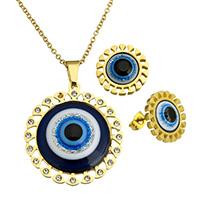 Evil Eye Schmuck-Set, Ohrring & Halskette, Edelstahl, blöser Blick, goldfarben plattiert, Islam Schmuck & Oval-Kette & Epoxy Aufkleber & mit Strass & buntes Pulver, 35x38x6mm, 2.5x2x0.5mm, 16x16x16mm, Länge:ca. 20 ZollInch, verkauft von setzen