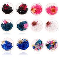 Glassturz Ohrringe, Glas, mit Getrocknete Blumen & Strass, Edelstahl Stecker, flache Runde, Platinfarbe platiniert, transparent, keine, 17x17mm, verkauft von Paar