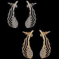 Moderne Ohr Manschette, Zinklegierung, Edelstahl Stecker, Flügelform, plattiert, mit Strass, keine, frei von Blei & Kadmium, 35x10mm, verkauft von PC