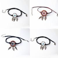 Mode-Halskette, Eisen, mit Nylonschnur & Holz, mit Verlängerungskettchen von 7cm, Traumfänger, antik silberfarben plattiert, keine, frei von Blei & Kadmium, 20mm, verkauft per ca. 12.5 ZollInch Strang